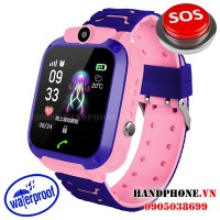 Điện thoại đồng hồ định vị chống nước Q12 màu hồng cho trẻ em