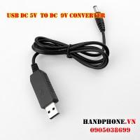 Cáp chuyển đổi dòng điện USB 5V DC sang 9V DC chân tròn 5.5mm