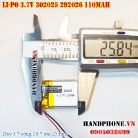 Pin Li-Po 3.7V 110mAh 302025 292026 (Lithium Polymer)