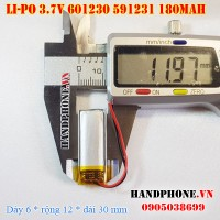 Pin Li-Po 3.7V 180mAh 601230 591231 (Lithium Polymer)