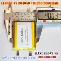 Pin Li-Po 3.7V 2000mAh 804050 784050 (Lithium Polymer)
