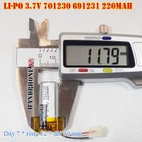 Pin Li-Po 3.7V 220mAh 701230 691231 (Lithium Polymer)