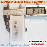 Pin Li-Po 3.7V 2500mAh 853568 803468 (Lithium Polymer)