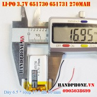 Pin Li-Po 3.7V 270mAh 651730 651731 (Lithium Polymer)