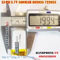 Pin Li-Po 3.7V 500mAh 802035 722035 (Lithium Polymer)
