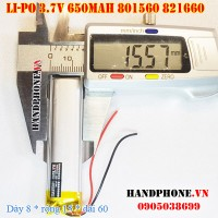 Pin Li-Po 3.7V 650mAh 801560 821660 (Lithium Polymer)