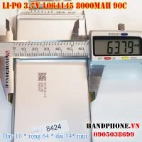 Pin Li-Po 3.7V 8000mAh 8AH 1064145 dòng xả cao 90C cho RC