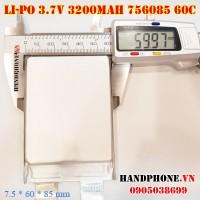 Pin Li-Po 3.7V 3200mAh 756085 766085 dòng xả cao 60C cho RC