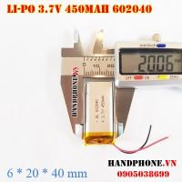 Pin Li-Po 3.7V 450mAh 602040 (Lithium Polymer)