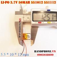 Pin Li-Po 3.7V 551012 551112 50mAh cho tai nghe Bluetooth