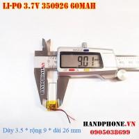 Pin Li-Po 3.7V 350926 60mAh (Lithium Polymer)